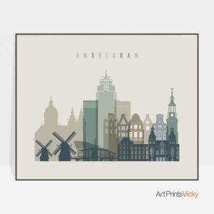 Amsterdam print earth tones 1 landscape