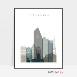 Stockholm art print skyline earth tones 4