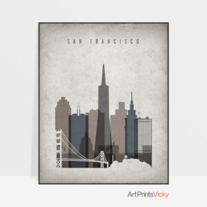 San Francisco skyline wall art retro