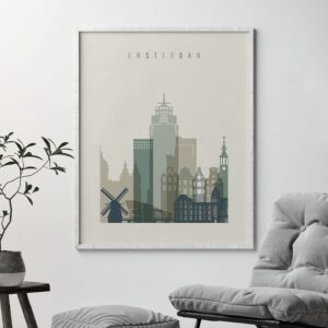 Amsterdam print skyline earth tones 1 second