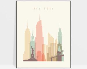 New York art print skyline pastel cream