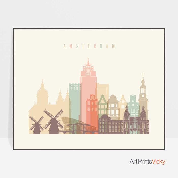Amsterdam poster pastel cream landscape