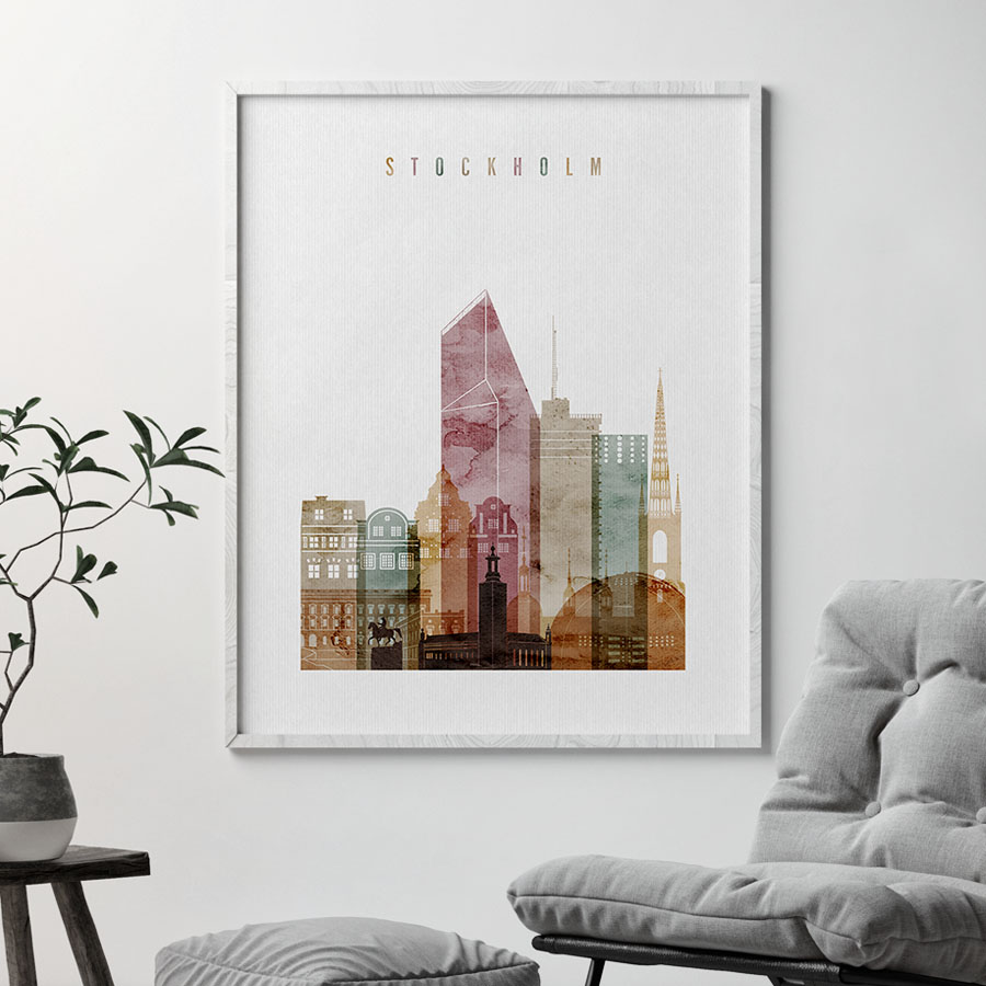 Stockholm skyline art watercolor 1 second
