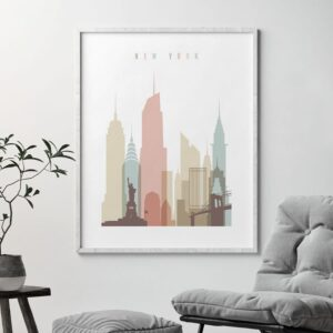 New York wall art pastel white second