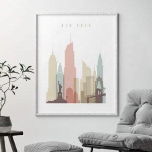 New York wall art pastel white second