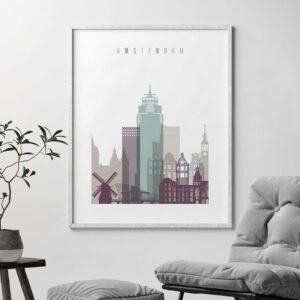 Amsterdam skyline print pastel 2 second