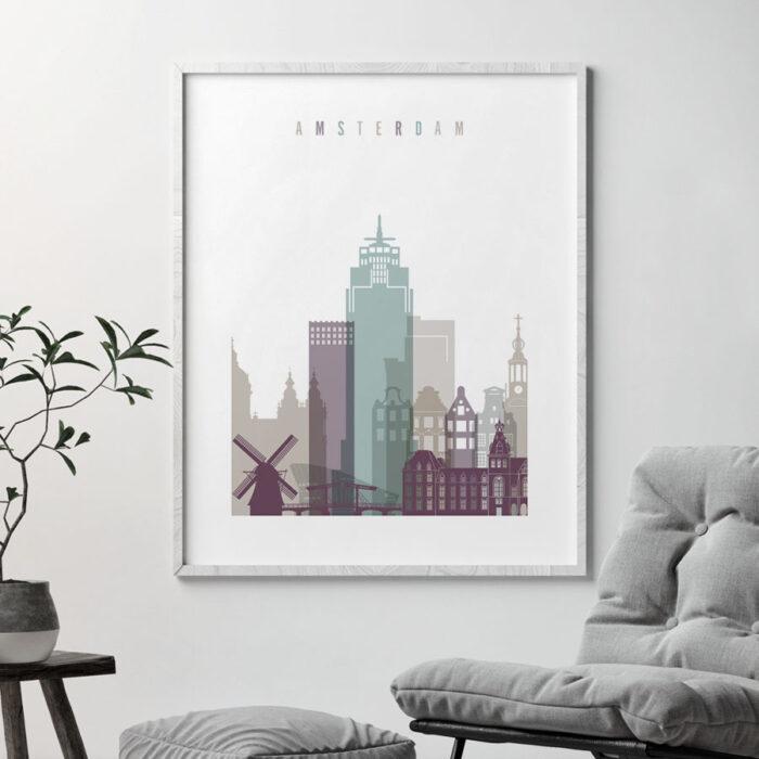 Amsterdam skyline print pastel 2 second