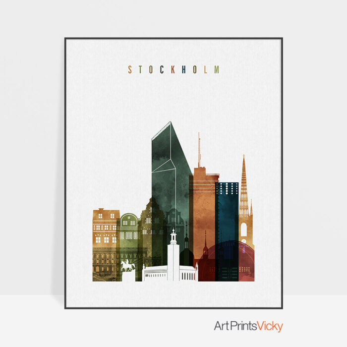 Stockholm art print watercolor 3