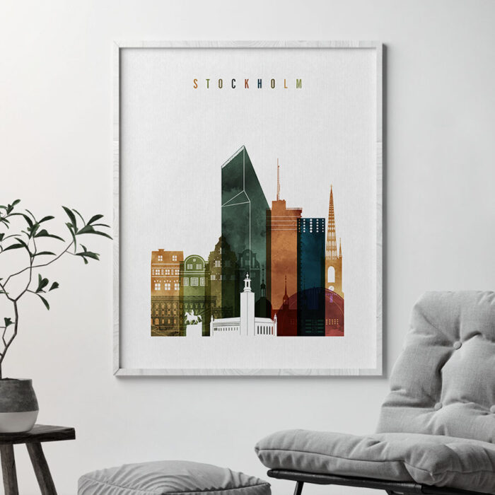 Stockholm art print watercolor 3 second
