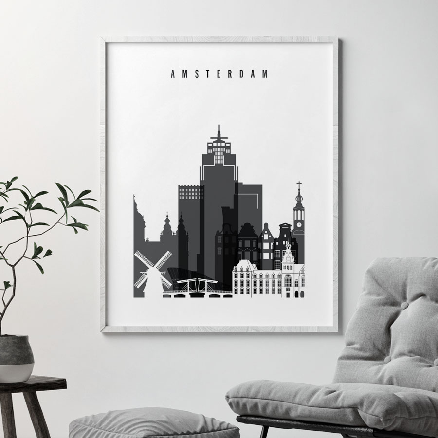 Amsterdam skyline black and white art second