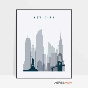 New York skyline poster grey blue