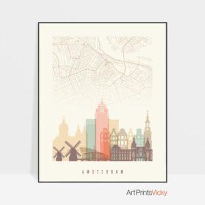 Amsterdam map print poster pastel cream