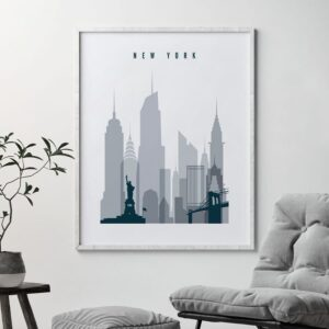 New York skyline poster grey blue second