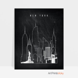 New York chalkboard black white skyline print