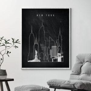New York chalkboard black white skyline print second
