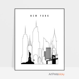 New York skyline black and white print