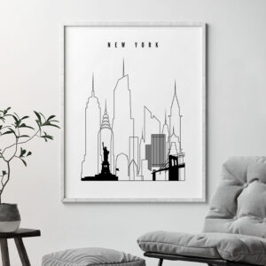 New York skyline black and white print second
