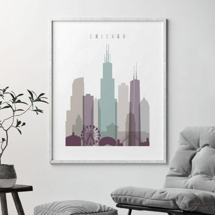 Chicago print skyline pastel 2 second