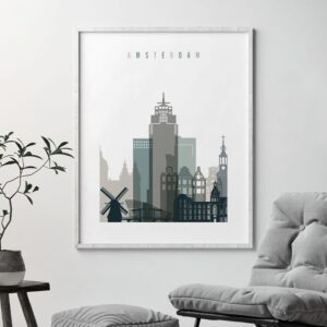 Amsterdam art print skyline earth tones 4 second