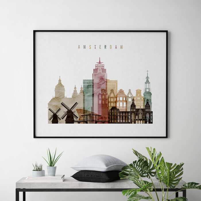 Amsterdam poster watercolor 1 landscape second