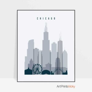 Chicago skyline poster grey blue