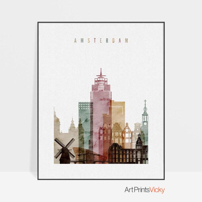 Amsterdam skyline art print watercolor 1