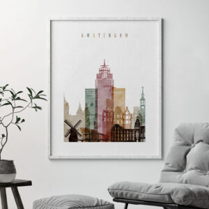 Amsterdam skyline art print watercolor 1 second