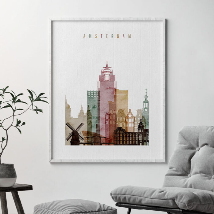 Amsterdam skyline art print watercolor 1 second