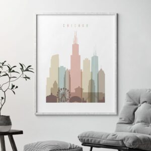 Chicago wall art pastel white second