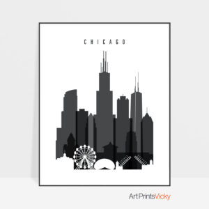 Chicago skyline black and white art