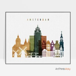 Amsterdam skyline print watercolor 3