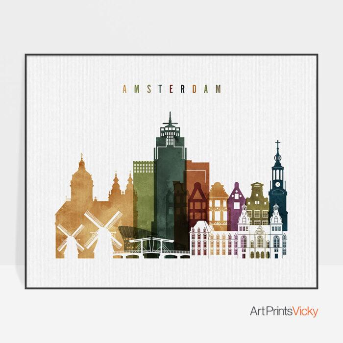 Amsterdam skyline print watercolor 3