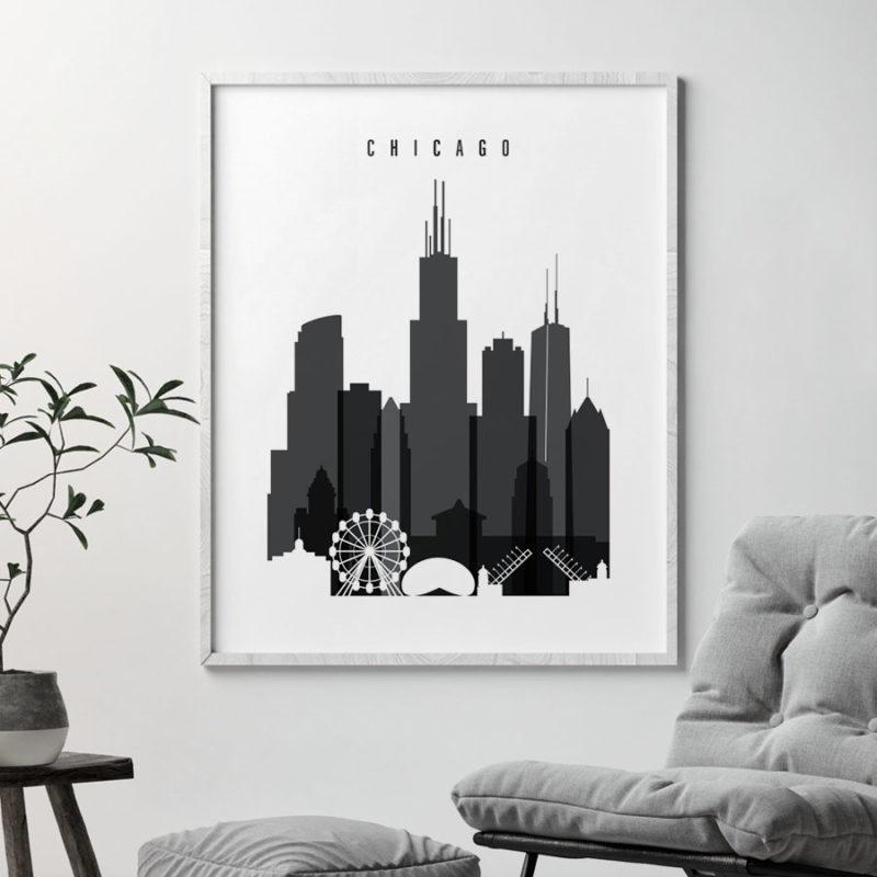 Chicago skyline black and white art second