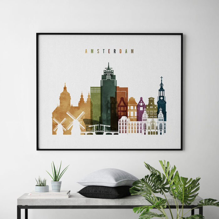 Amsterdam skyline print watercolor 3 second