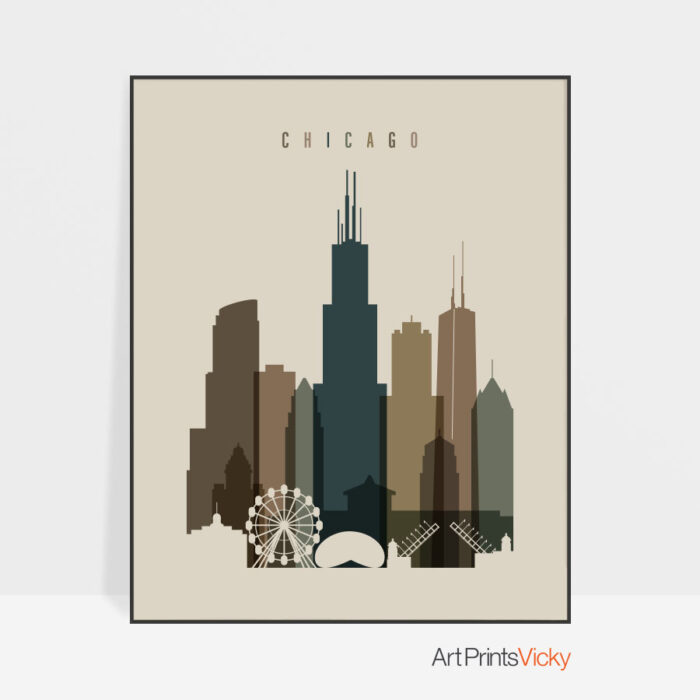 Chicago art print earth tones 3