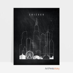 Chicago chalkboard black white skyline print