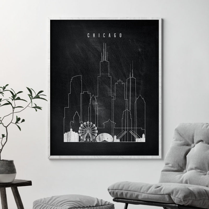 Chicago chalkboard black white skyline print second