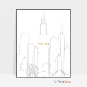 Chicago art skyline poster grey gold
