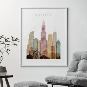 Chicago skyline watercolor 1 art print second
