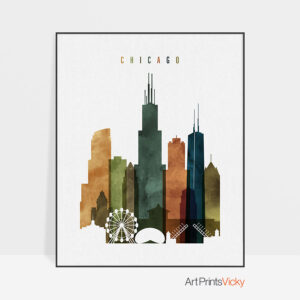 Chicago skyline print watercolor 3