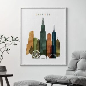 Chicago skyline print watercolor 3 second