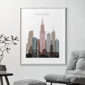 Chicago skyline poster distressed 1 second