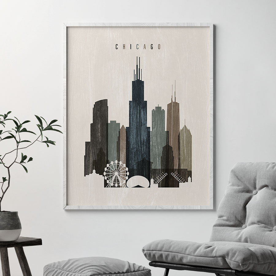 Chicago skyline print distressed 2 second