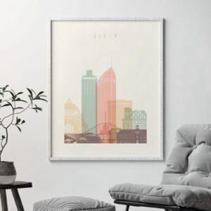 Liege skyline print pastel cream second