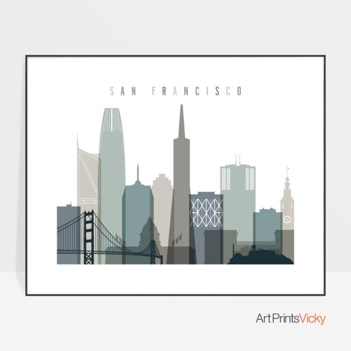 San Francisco print earth tones 4 landscape
