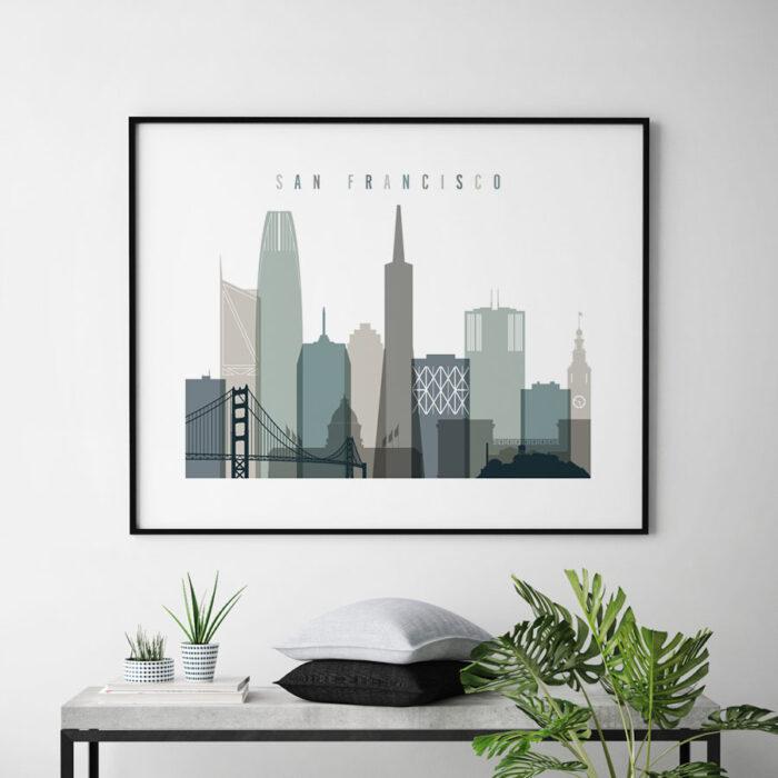 San Francisco print earth tones 4 landscape second