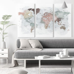 Large World Map Set Of 3 Canvas Prints second