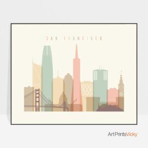 San Francisco poster pastel cream landscape