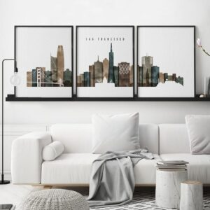 San Francisco set of 3 prints watercolor 2 second
