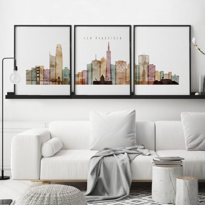 San Francisco triptych wall art watercolor 1 second